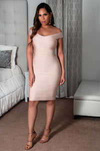 Helena Off Shoulder Strap Bandage Bodycon Party Dress
