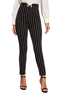 Alayna Elegant Striped Wide Band Waist Button Detail Skinny Pants