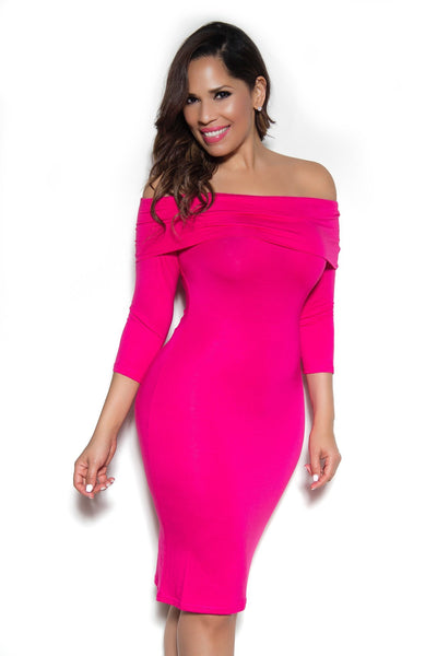 Hot Pink Off Shoulder Long Sleeve Bodycon Dress - MY SEXY STYLES  - 1