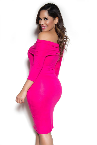 Hot Pink Off Shoulder Long Sleeve Bodycon Dress - MY SEXY STYLES  - 2