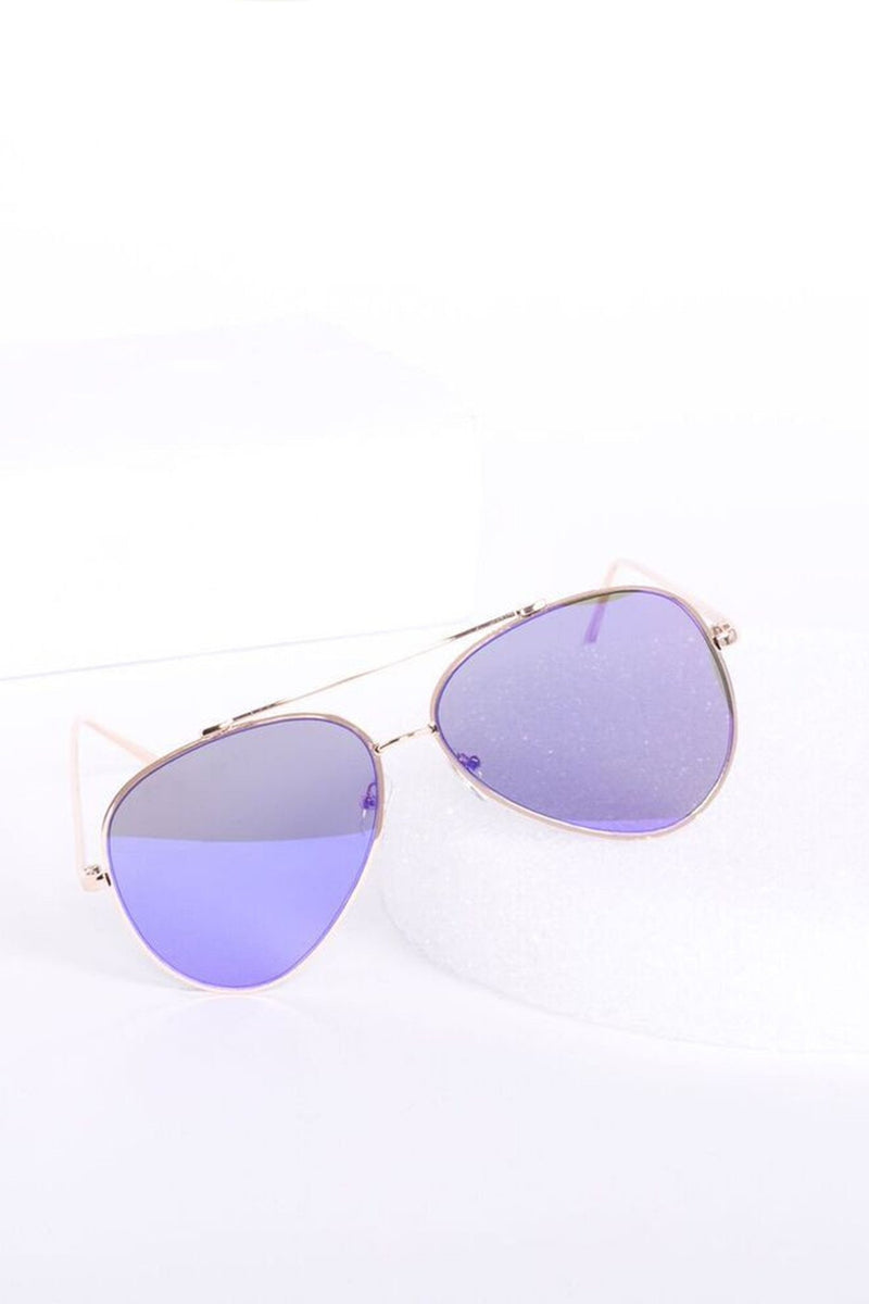 Hottie Flat Frame Mirror Aviator Sunglasses - Purple - MY SEXY STYLES