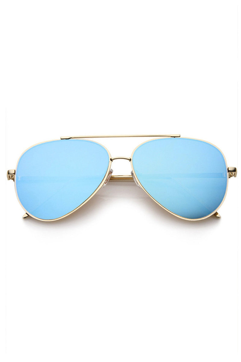 Hottie Flat Lens Mirror Aviator Sunglasses - Blue - MY SEXY STYLES