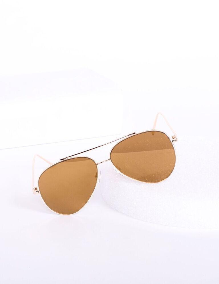 Hottie Flat Frame Mirror Aviator Sunglasses - Brown - MY SEXY STYLES