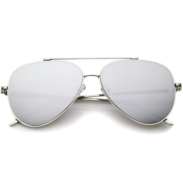 Hottie Flat Frame Mirror Aviator Sunglasses - Silver - MY SEXY STYLES
