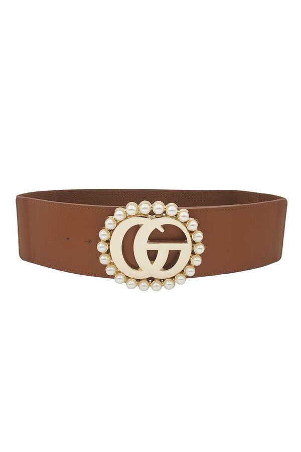 Interlocking GG Pearl Trimmed Metal Buckle Elastic Belt