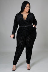 Velvet Diva Long Sleeves Bodysuit and Pants Set