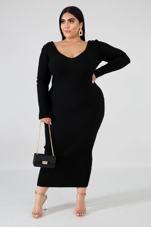 Carly Plus Size Ribbed Midi Dress