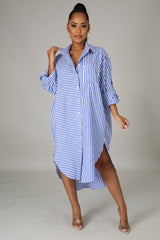 Zhina Striped Button Up Shirt Dress