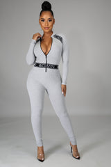 WOMAN Front Zippered Long Sleeves Jumpsuit