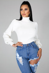 Zella Turtle Neck Puff Long Sleeves Sweater