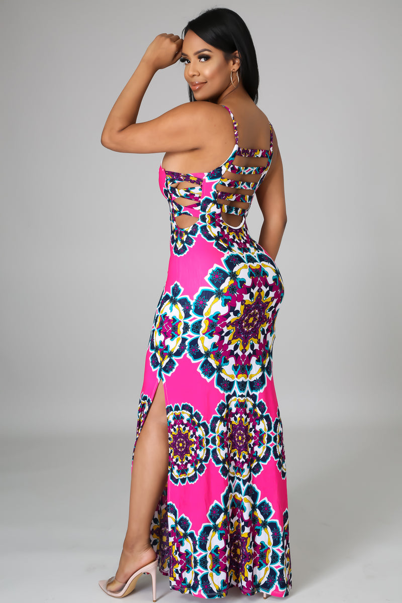 Adriana Geometric Print Maxi Dress