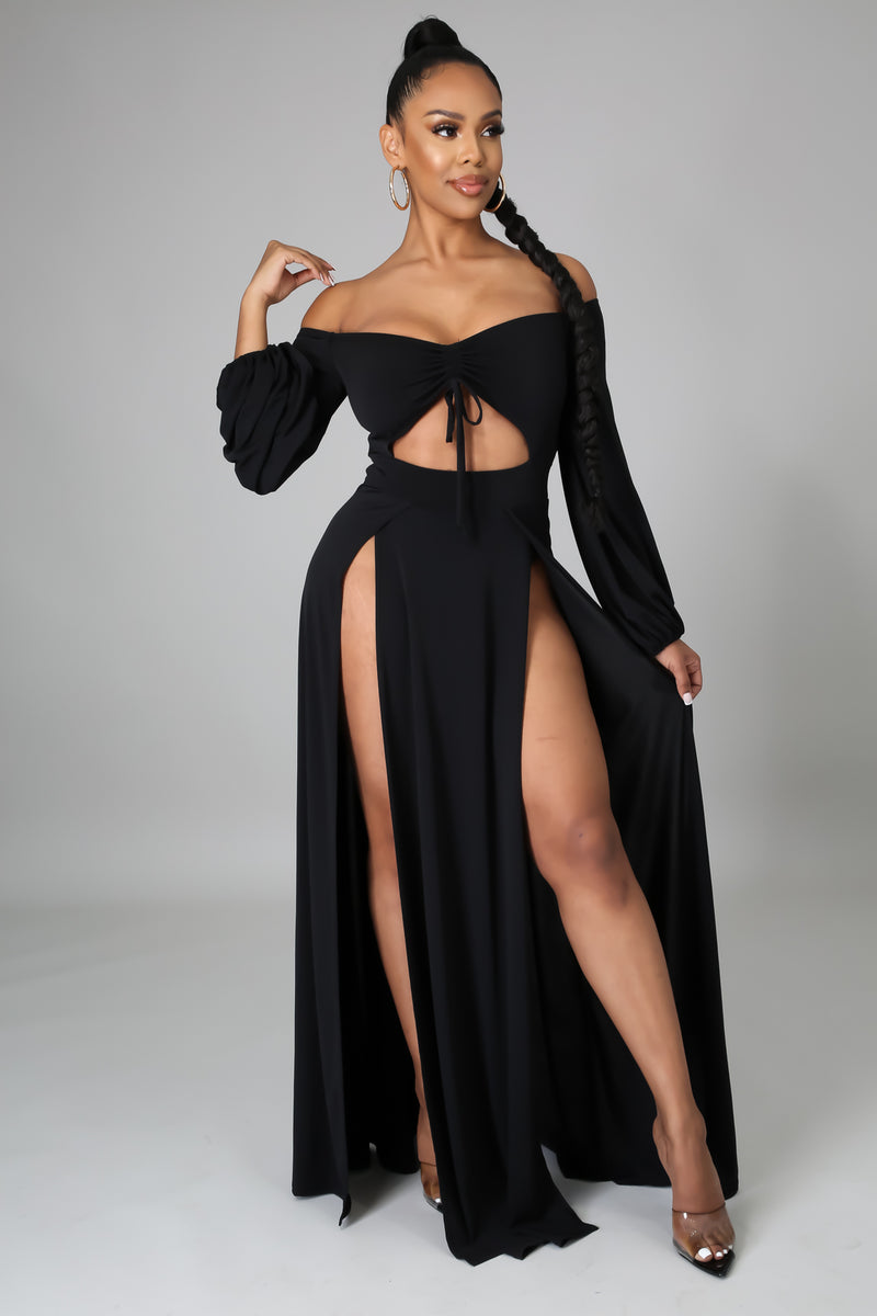 Kimberly Off Shoulder Sides Slits Dress