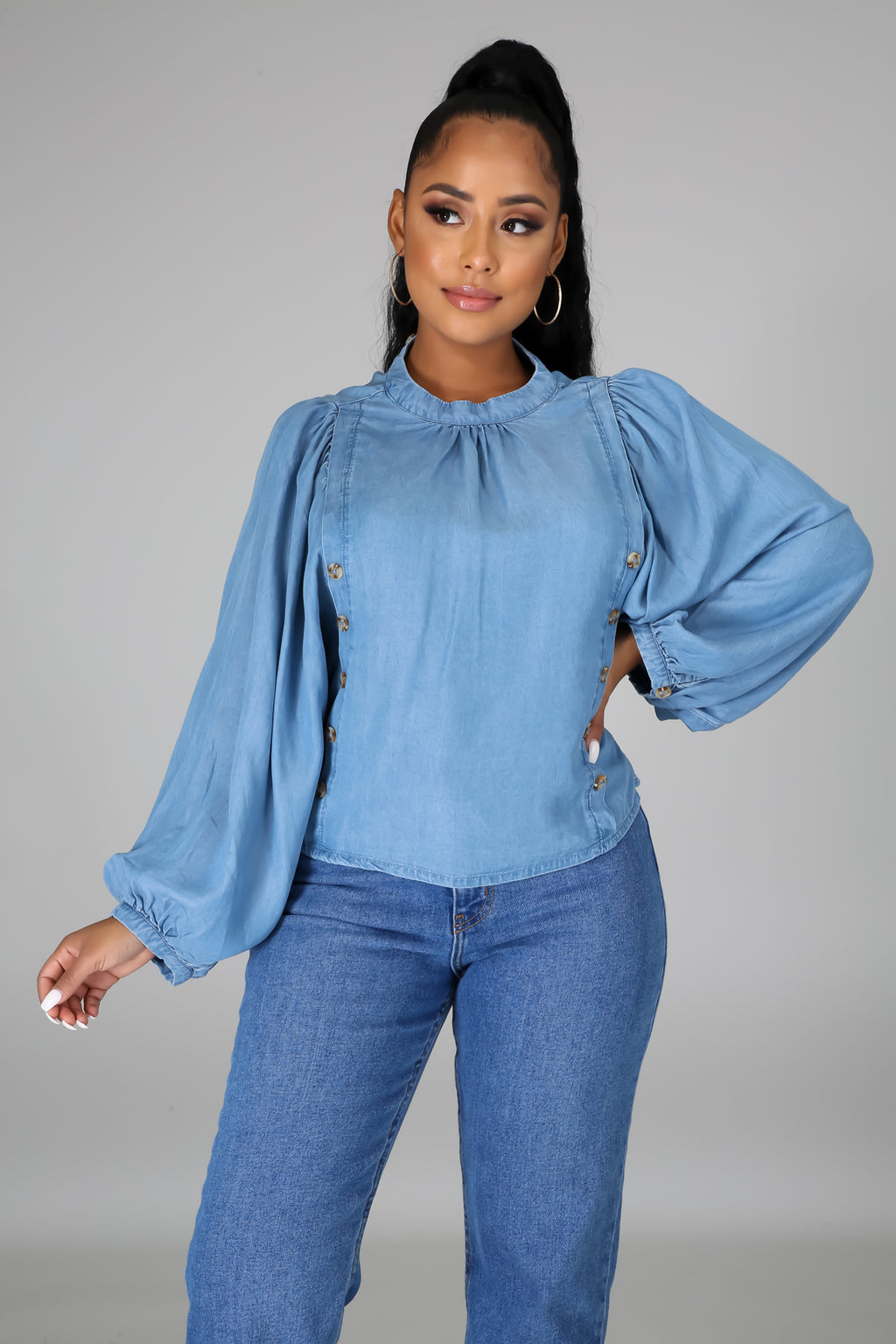 Celine Long Sleeves Denim Blouse