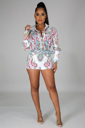 Amy Chic Long Sleeves Shirt and Shorts Set