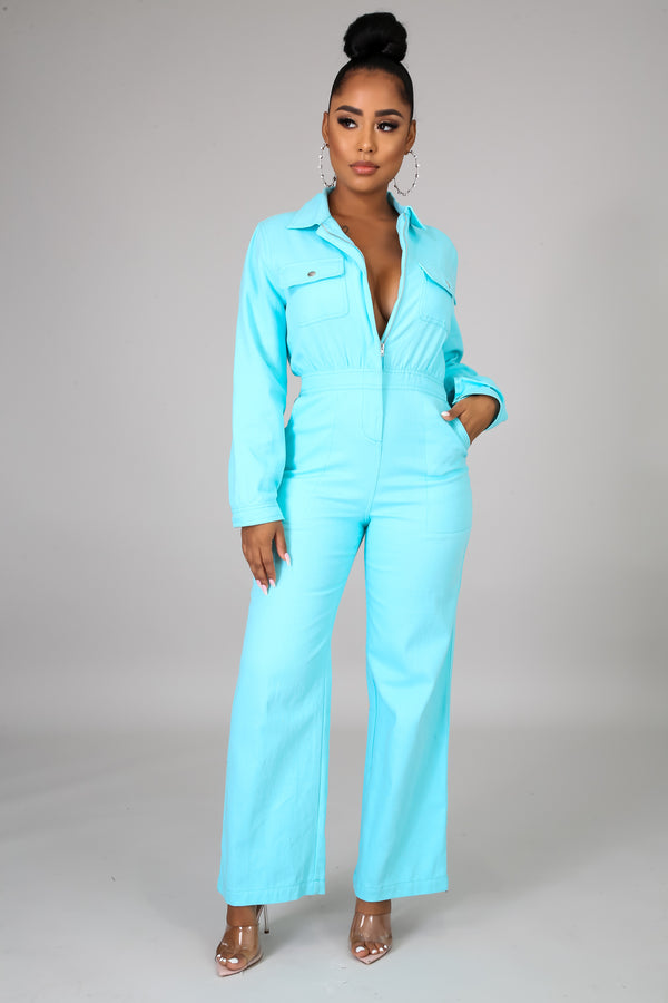 Zia Long Sleeves Rustic Denim Jumpsuit