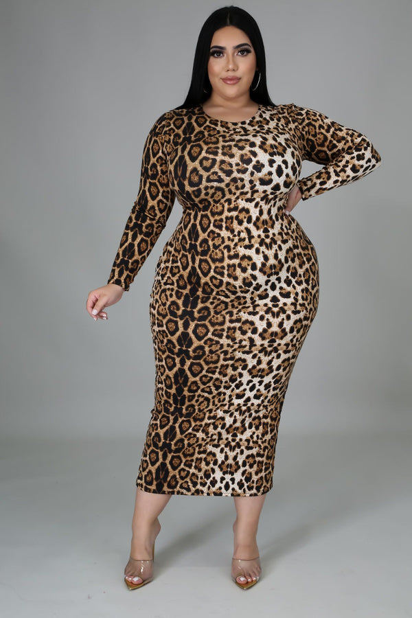 Aubrey Cheetah Print BodyCon Midi Dress