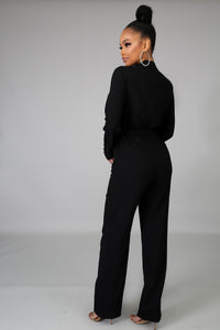 Zelda Long Sleeves Black Jumpsuit
