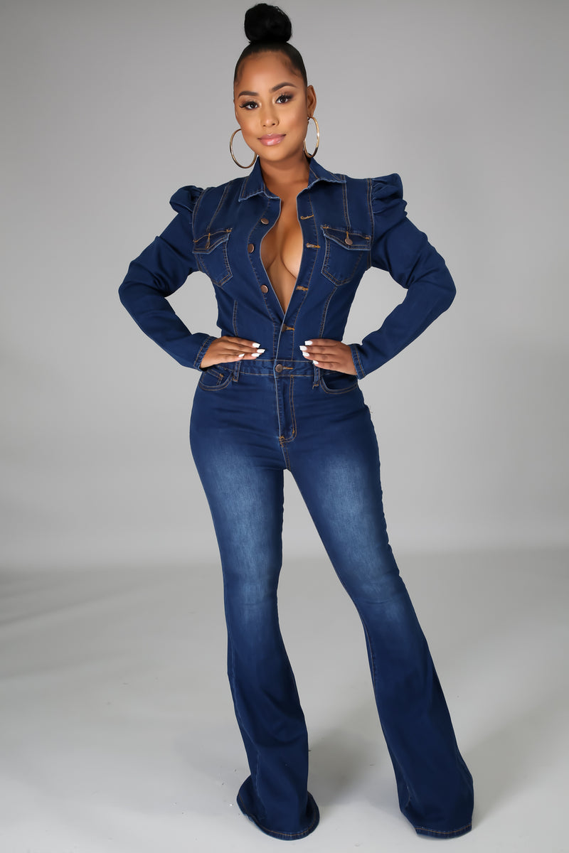 Keyla Bell Bottom Denim Jumpsuit