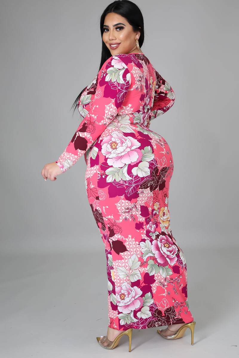 Maria Floral Bodycon Maxi Dress