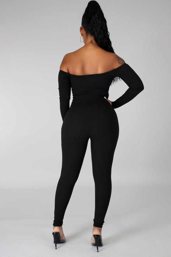 Melody Ribbed Off Shoulders Jumpsuit