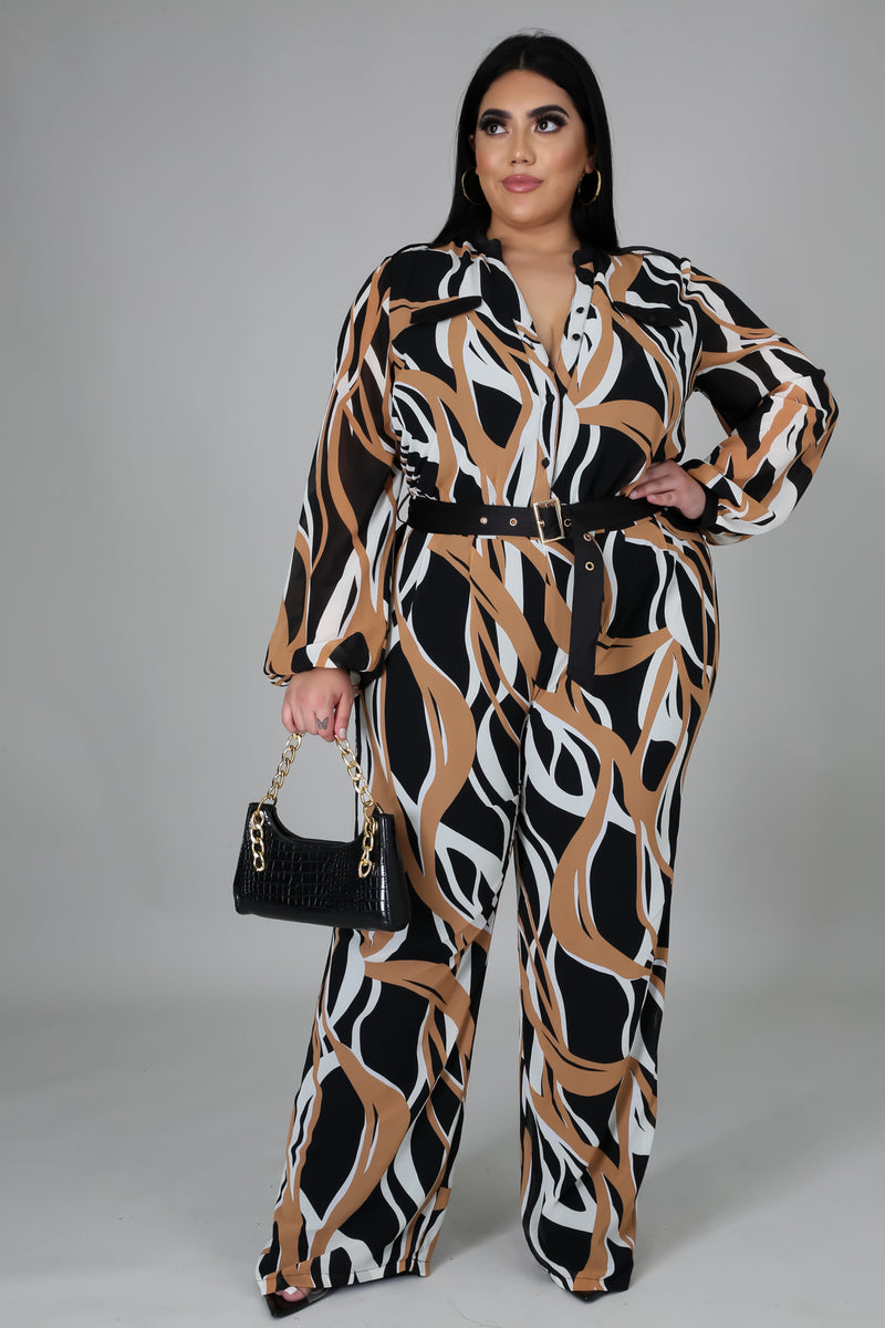 Zora Long Sleeves Shirt Jumpsuit W/ Belt