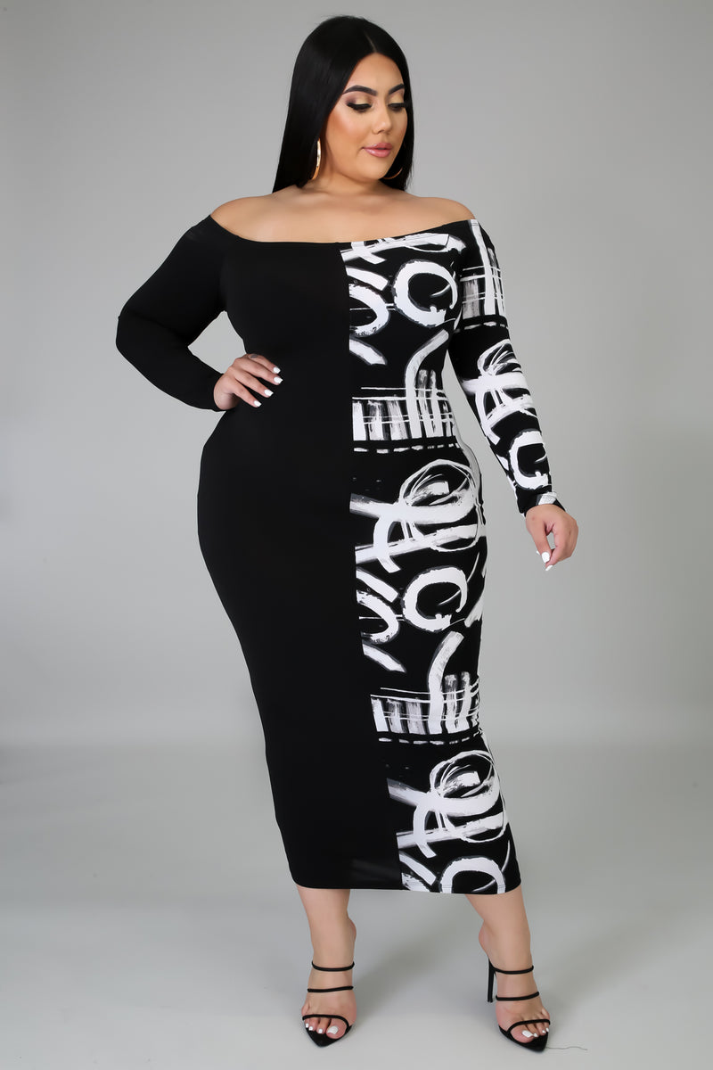 Zaidee Brush Print Bodycon Midi Dress