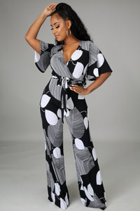 Clement Cap Sleeves Jumpsuit w/Waist Tie