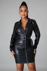 Dakota Coat Faux Leather Belted Dress