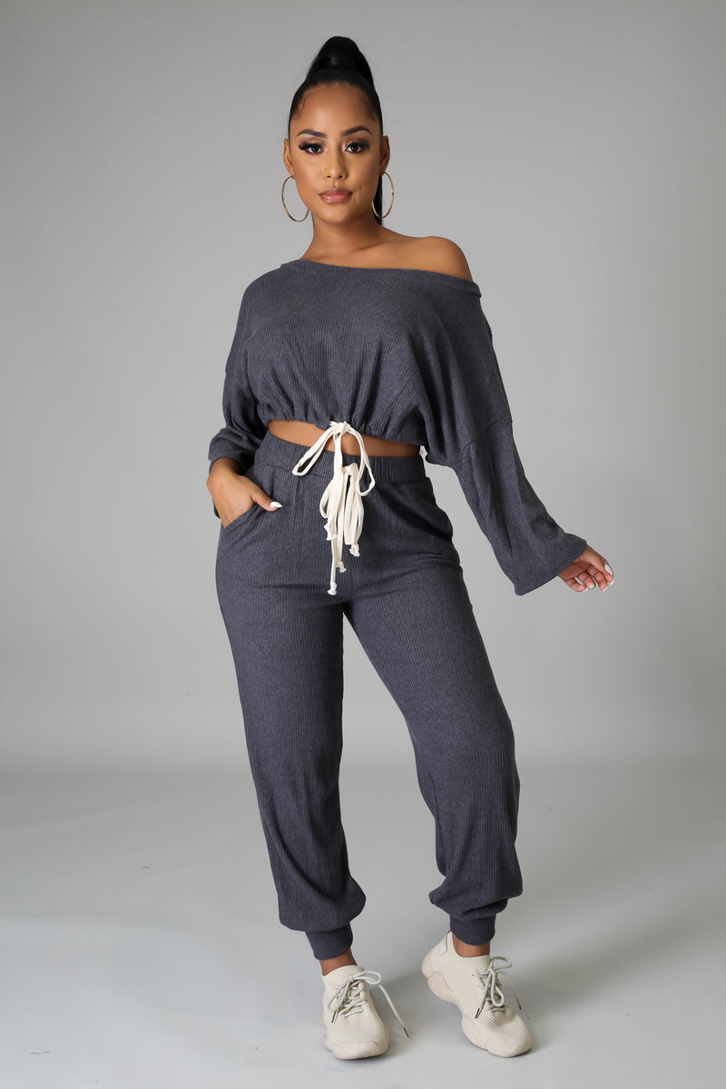 Camille Off The Shoulders Jogger Pant Set