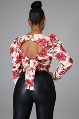 Madysin Sexy Floral Print Reversible Blouse
