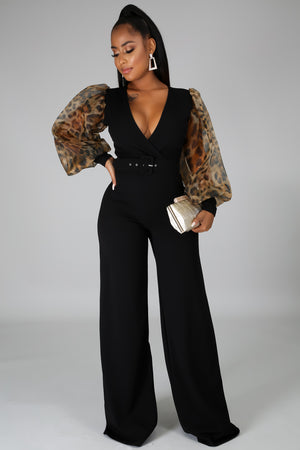 Miley Elegant Belted Plunging Jumpsuit