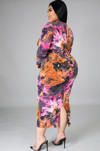 Cynthia Long Sleeves Colorful Midi Dress