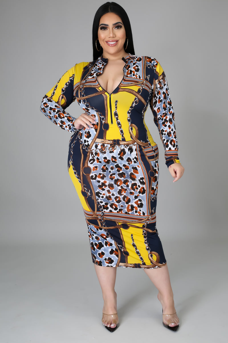 Valerie Chain Print Midi Dress