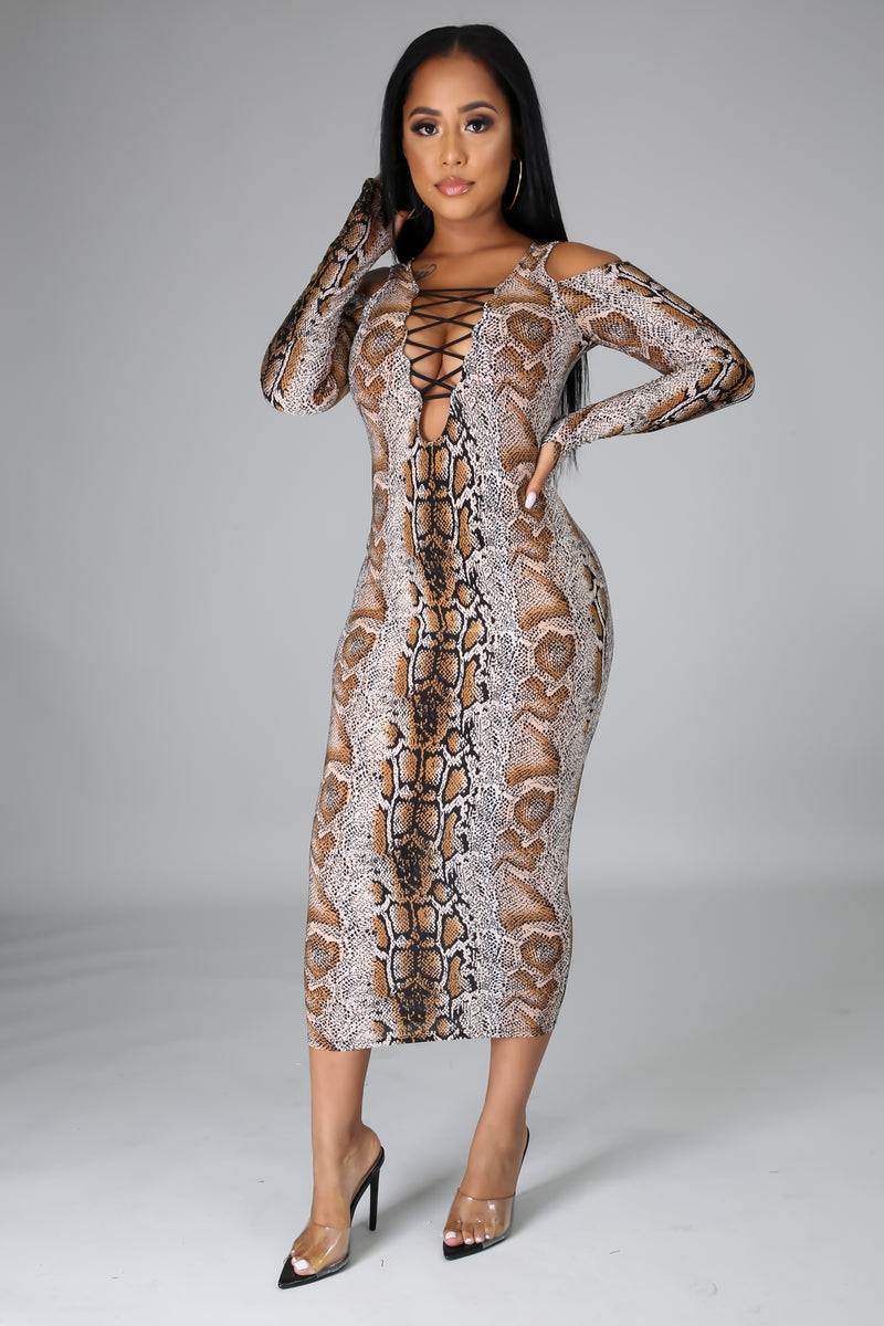 Adaline Snake Print Cold Shoulder Midi Dress