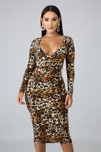 Mariah Sexy Animal Print Luxe Body-Con Dress