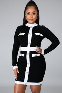 Patricia Black White Long Sleeves Dress