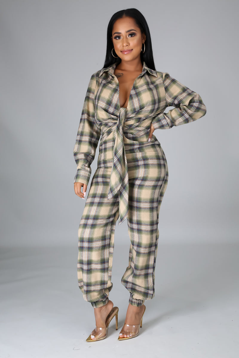 Dahlia Square Print Long Sleeves Jumpsuit