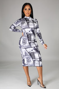Night In The Town Print Mock Neck Long Sleeves Dress