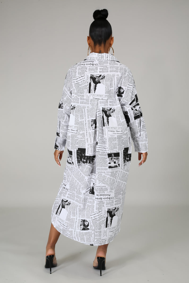 Evie Newspaper Tunic Shirt Dress