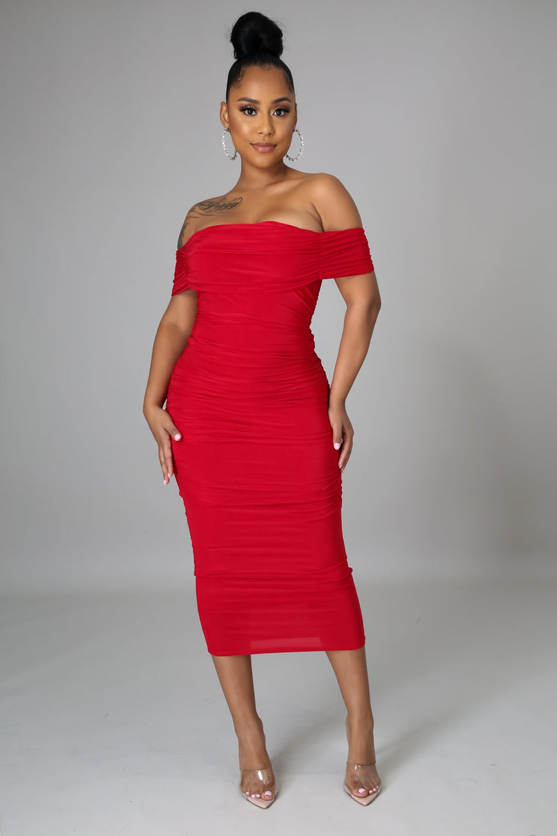 Willow Off The Shoulder Midi Dress
