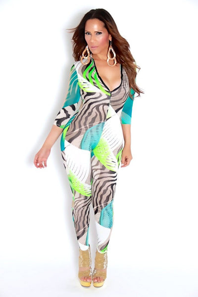 Zebra Multicolor Print Clubbing Jumpsuit - MY SEXY STYLES