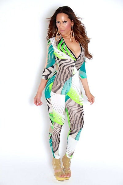 Zebra Multicolor Print Clubbing Jumpsuit - MY SEXY STYLES  - 3