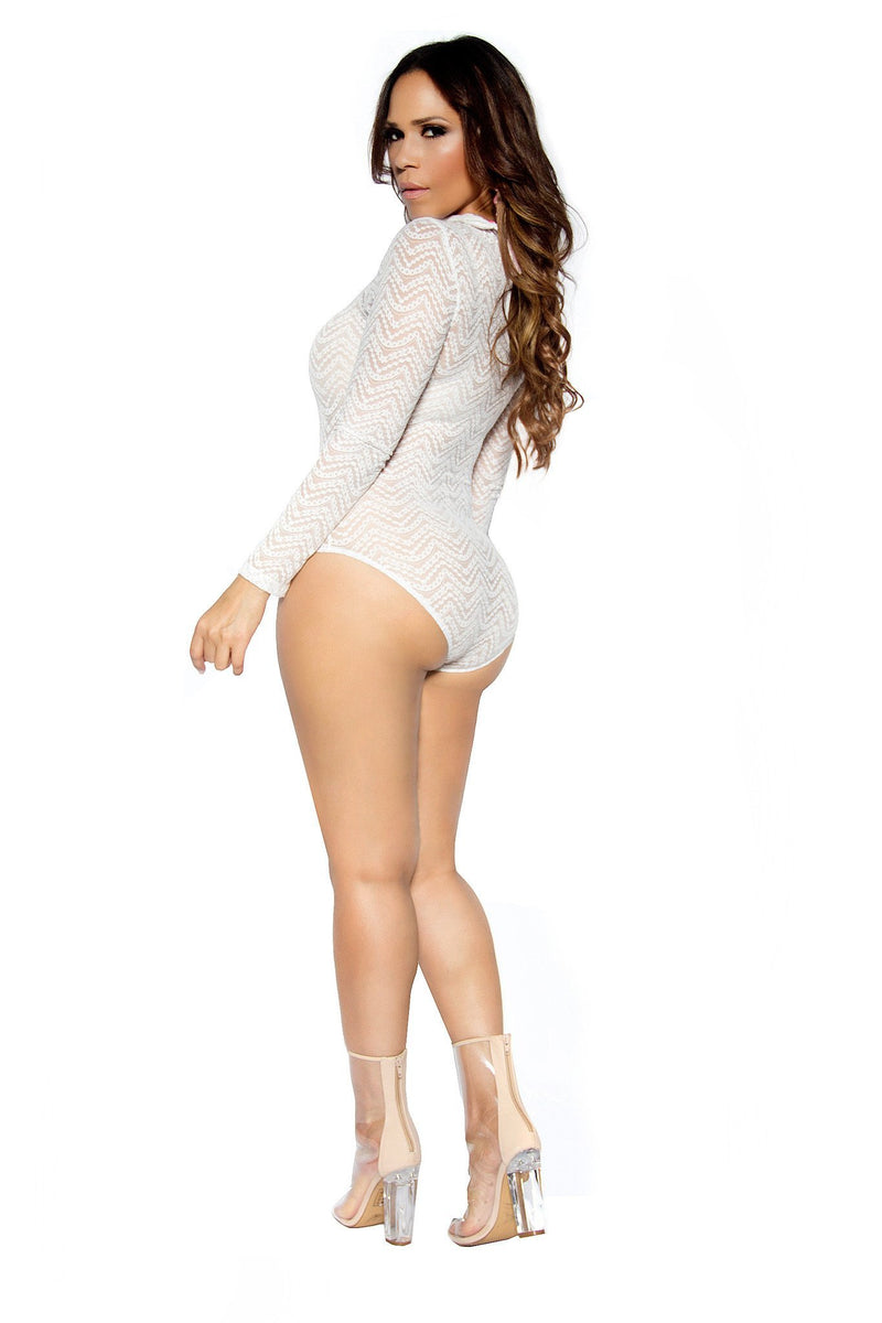 Off White Long Sleeve Smock Neck Sheer Mesh Bodysuit - MY SEXY STYLES
