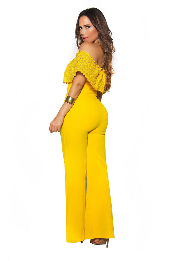 Yellow Woven Off Shoulder Frill Palazzo Jumpsuit