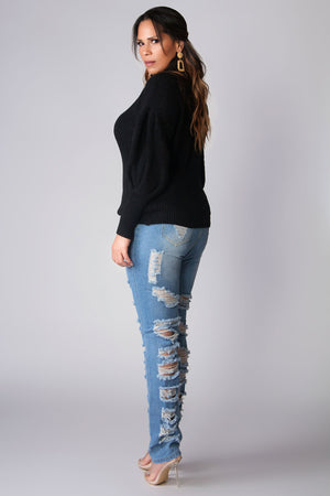 Jimena Puff Long Sleeves Chic Turtle Neck Sweater