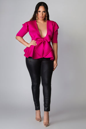 Maeve Deep V Neck Bow Tie Front Slim Fit Peplum Blouse