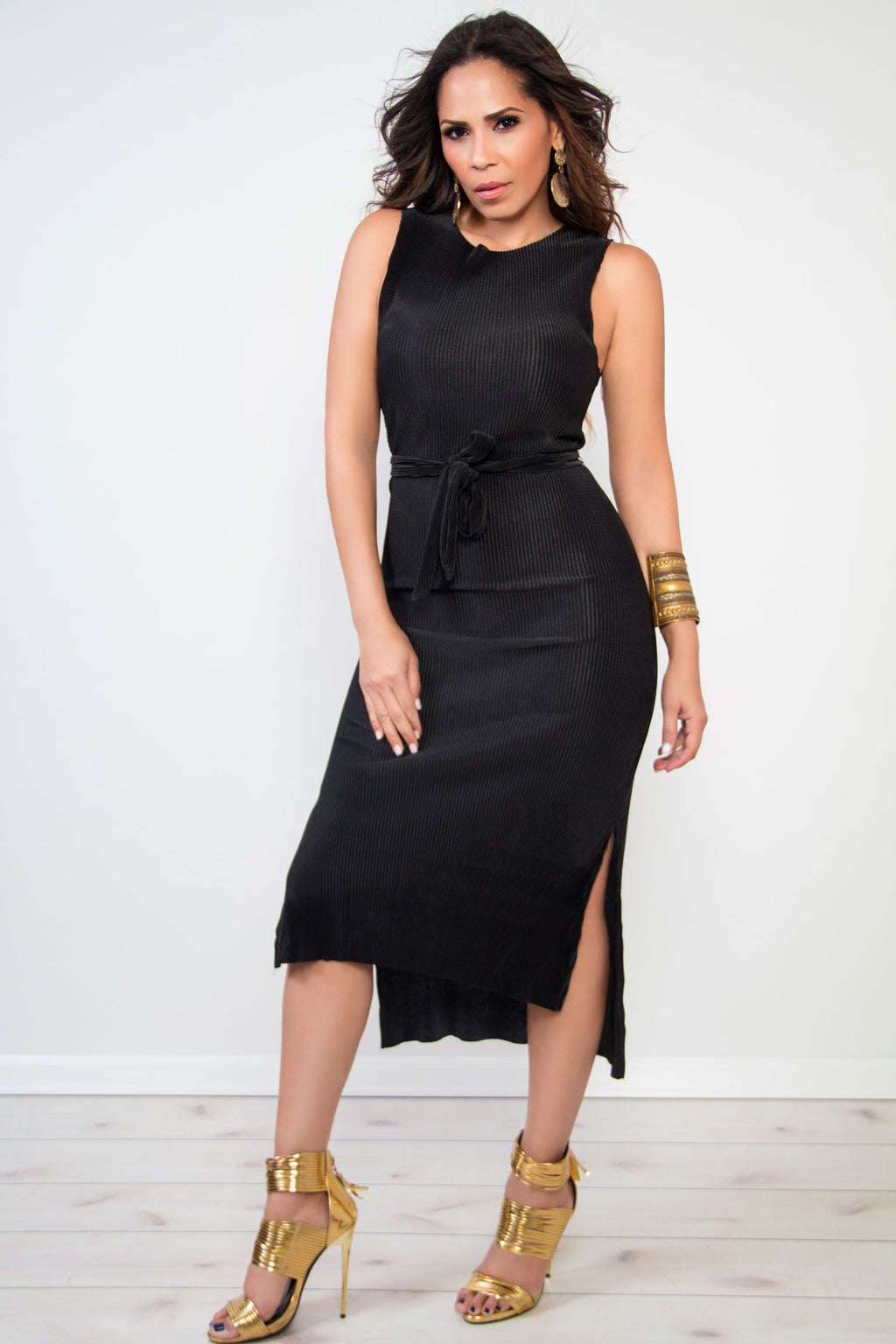 Dabney Black Pleated Dress W/ Waist Tie