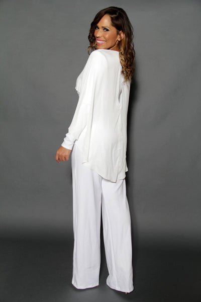 Elegant Ivory Cape Effect Back V Neck Wide Leg Jumpsuit - MY SEXY STYLES  - 2