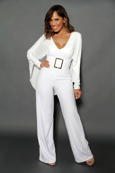 Elegant Ivory Cape Effect Back V Neck Wide Leg Jumpsuit - MY SEXY STYLES  - 1