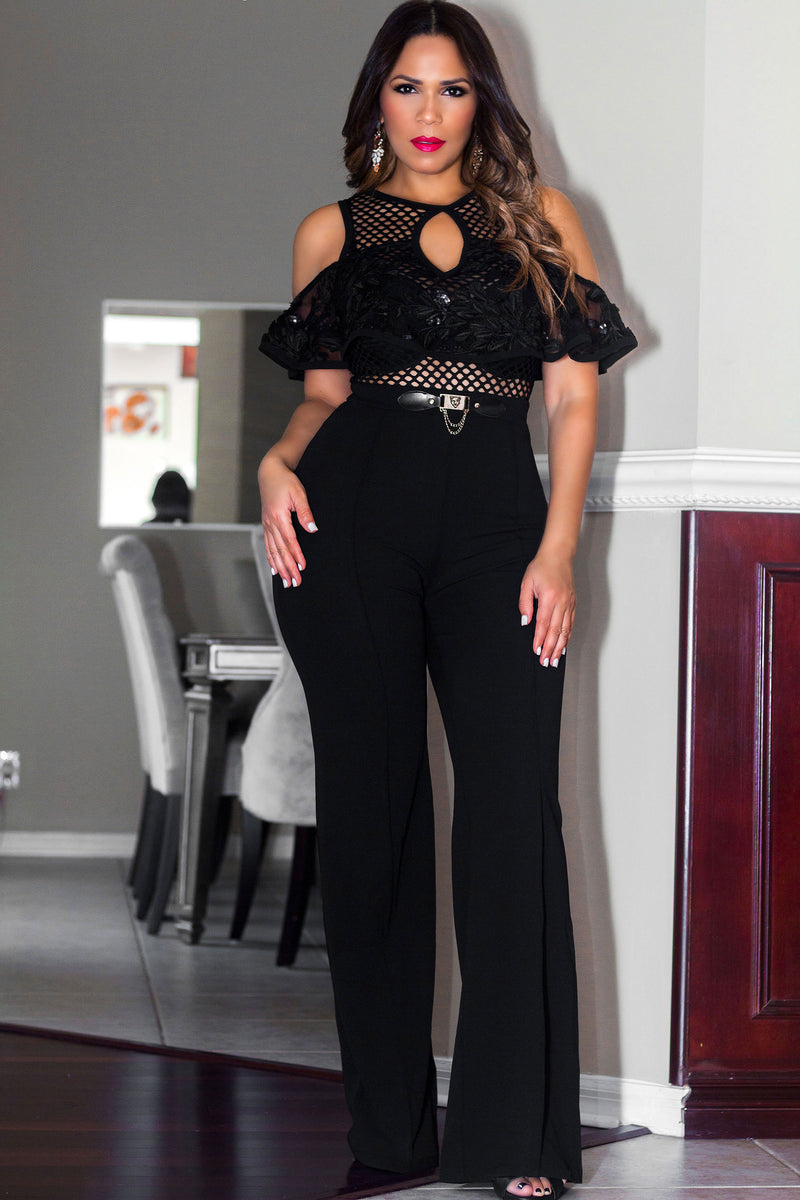 Olivia Black Off Shoulder Ruffle Frill Palazzo Jumpsuit